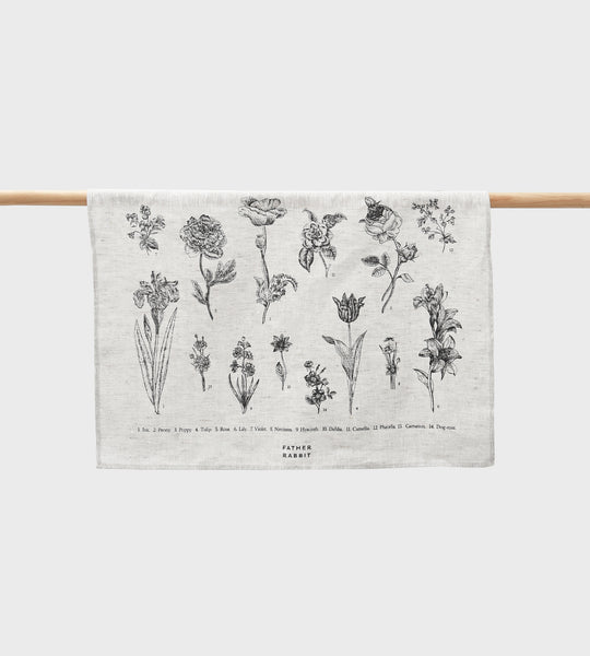 Father Rabbit | Vintage Floral Linen Tea Towel | Natural