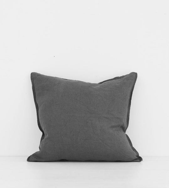 Father Rabbit | Linen Cushion | Dark Grey