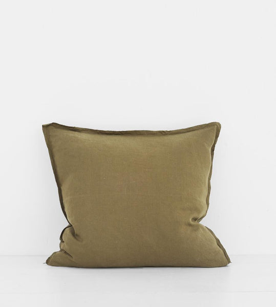 Father Rabbit | Linen Cushion | Olive