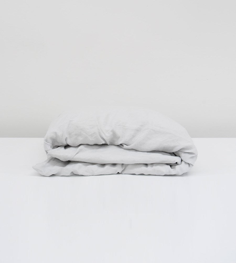 Father Rabbit | Linen Duvet Cover | Ice Blue