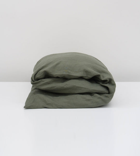 Father Rabbit | Linen Duvet Cover | Khaki