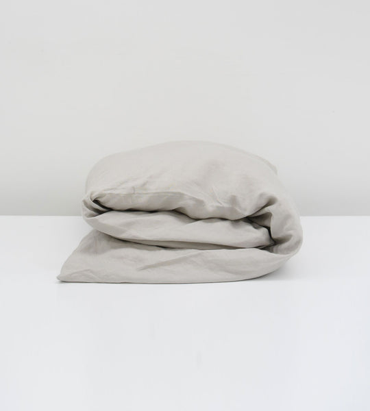 Father Rabbit | Linen Duvet Cover | Rain Grey