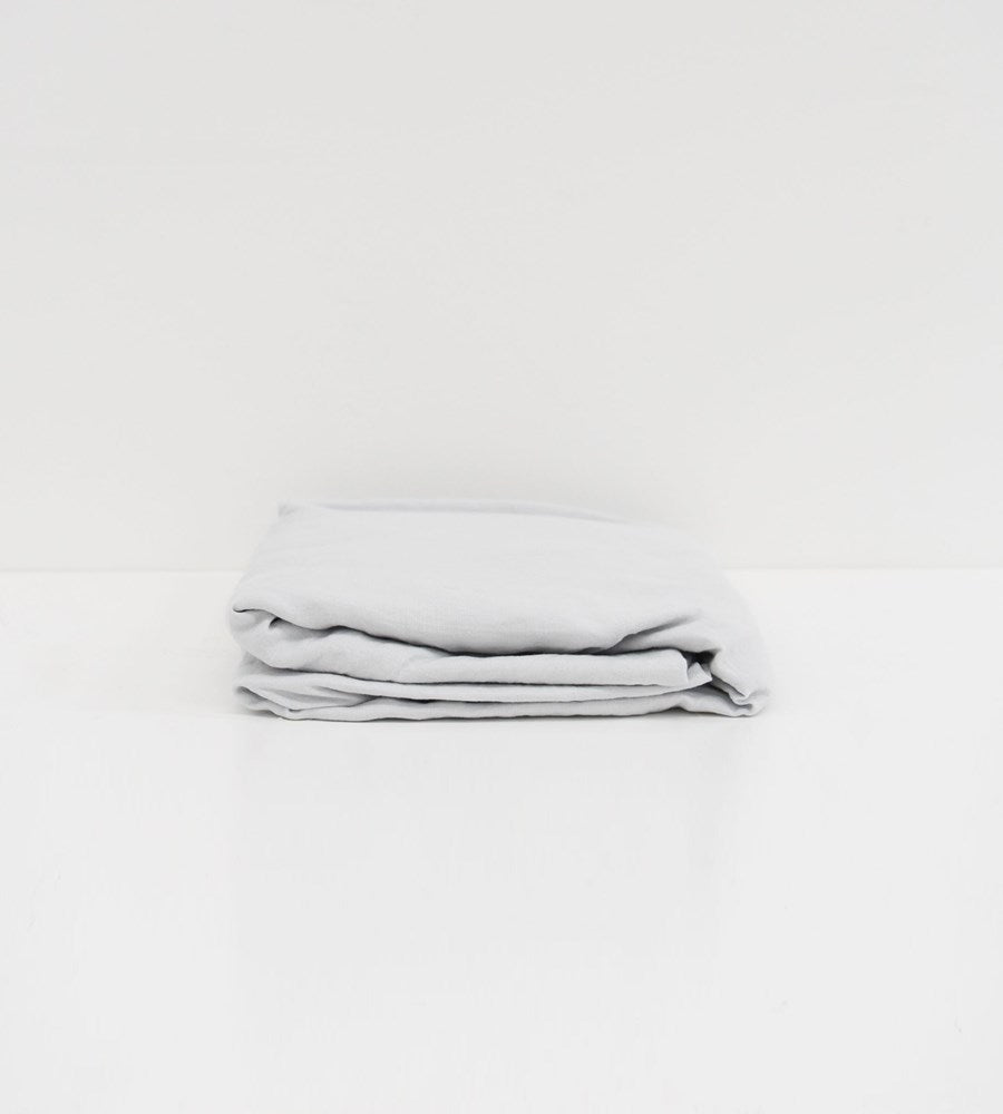 Father Rabbit | Linen Fitted Sheet | Ice Blue