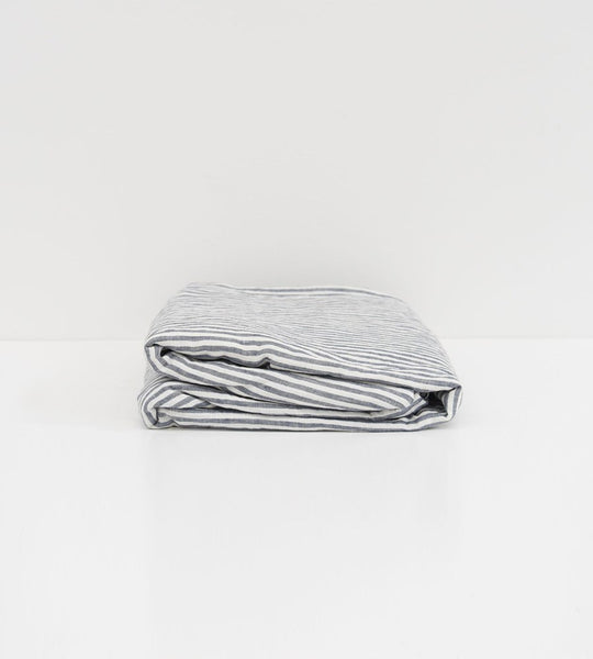 Father Rabbit | Linen Fitted Sheet | Navy Stripe