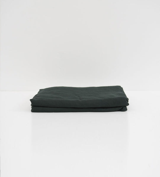 Father Rabbit | Linen Flat Sheet | Forest Green