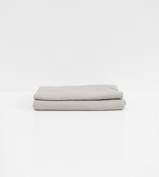 Father Rabbit | Linen Flat Sheet | Rain Grey