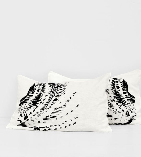Father Rabbit | Linen Standard Pillowcase Pair | Cream | Feather Pattern