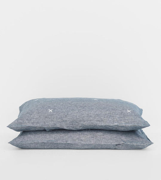Father Rabbit | Linen Standard Pillowcase Pair | Denim | White Kisses