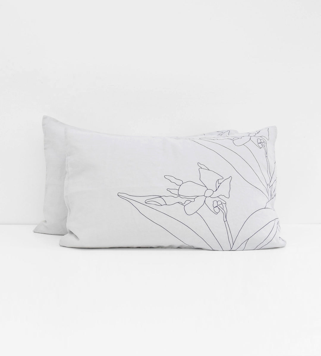 Father Rabbit | Linen Standard Pillowcase Pair | Ice Blue | Blue Jasmine