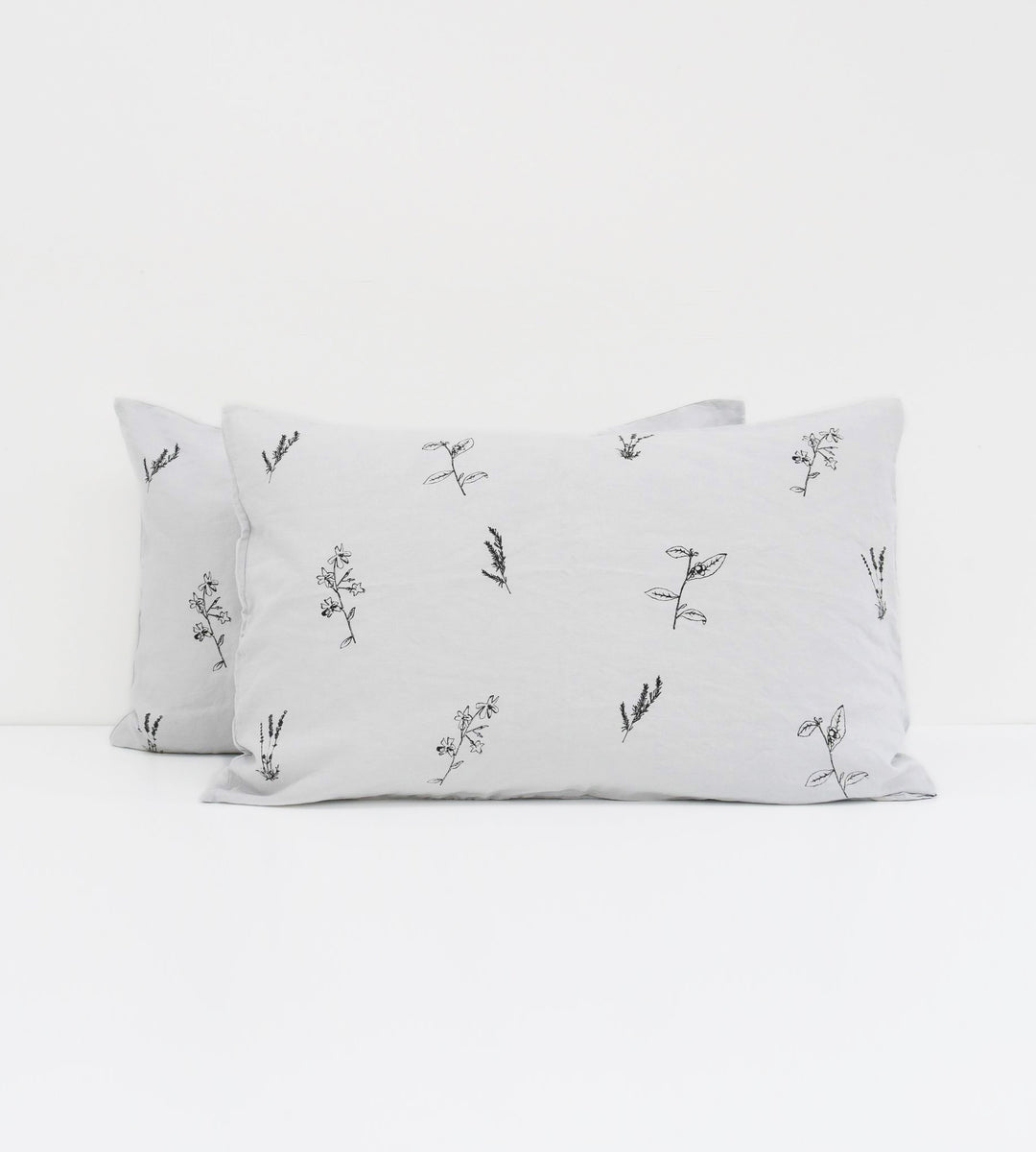 Father Rabbit | Linen Standard Pillowcase Pair | Ice Blue | Botanical