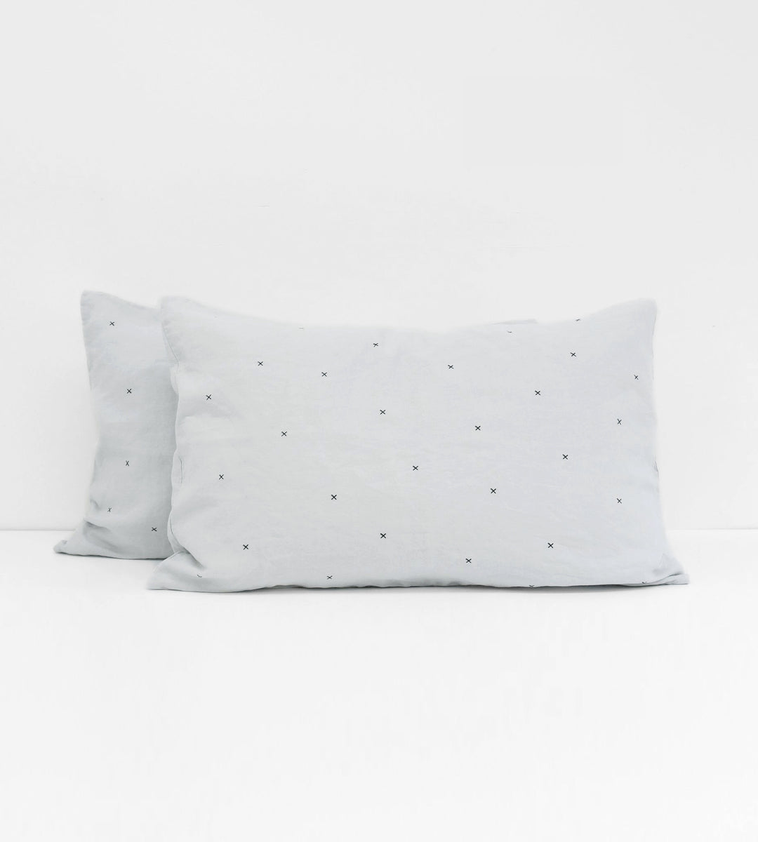 Father Rabbit | Linen Standard Pillowcase Pair | Ice Blue | Mini Kisses