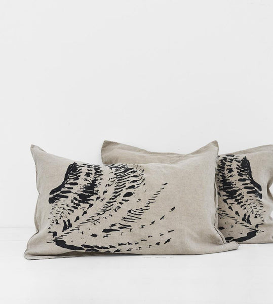 Father Rabbit | Linen Standard Pillowcase Pair | Natural | Feather Pattern