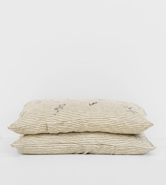 Father Rabbit | Linen Standard Pillowcase Pair | Olive Stripe | Botanical
