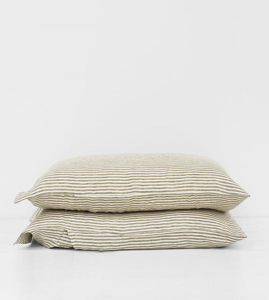 Father Rabbit | Linen Standard Pillowcase Pair | Olive Stripe