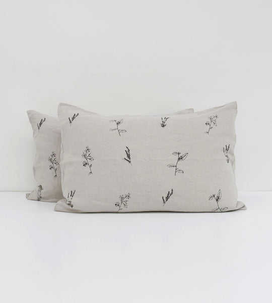 Father Rabbit | Linen Standard Pillowcase Pair | Rain Grey | Botanical