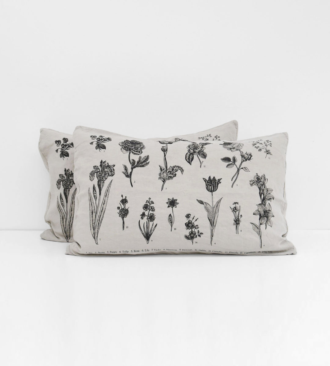 Father Rabbit | Linen Standard Pillowcase Pair | Rain Grey | Vintage Floral