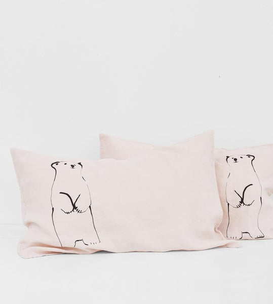 Father Rabbit | Linen Standard Pillowcase Pair | Shell | Standing Bear