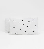 Father Rabbit | Linen Standard Pillowcase Pair | White | Stars