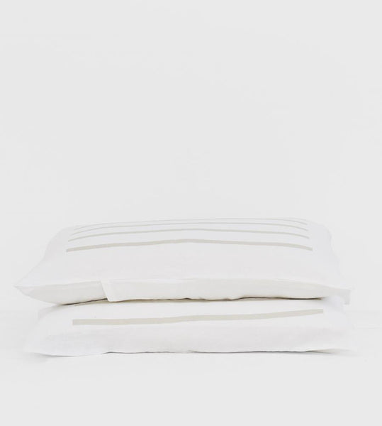Father Rabbit | Linen Standard Pillowcase Pair | White | Dove Grey Nautical Stripe