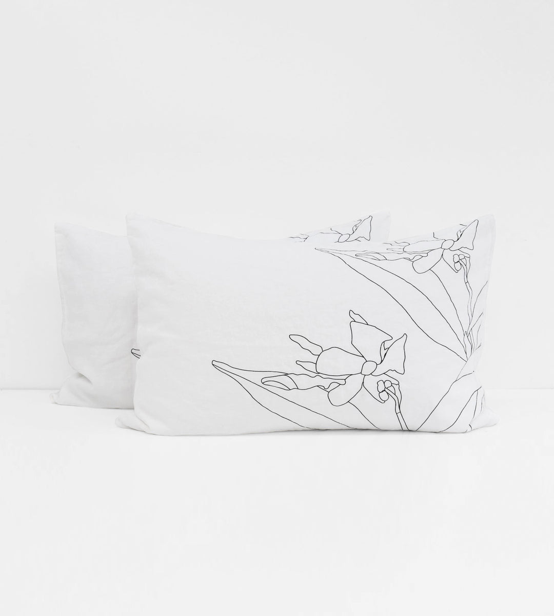 Father Rabbit | Linen Standard Pillowcase Pair | White | Jasmine