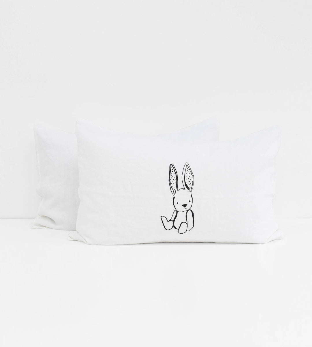 Father Rabbit | Linen Standard Pillowcase Pair | White | Mini Baby Bunny