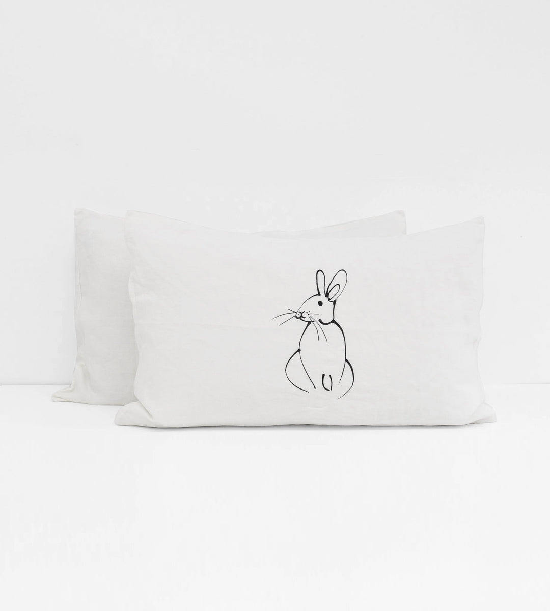 Father Rabbit | Linen Standard Pillowcase Pair | White | Rabbit