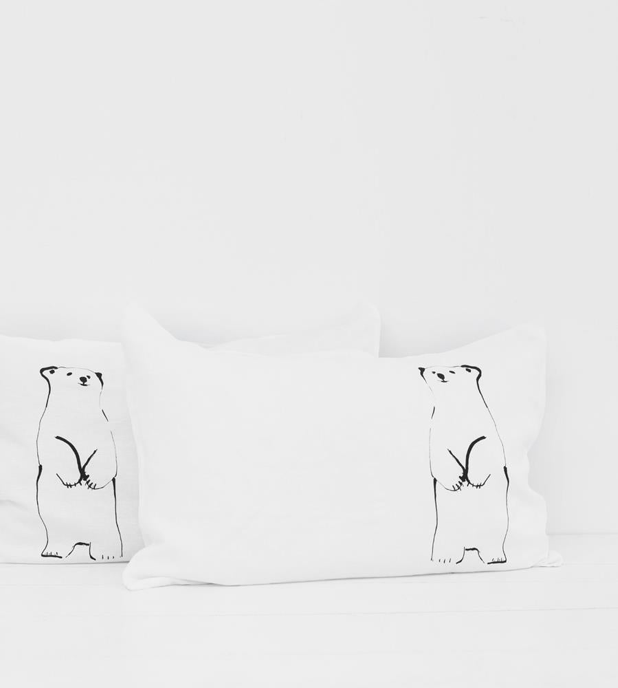 Father Rabbit | Linen Standard Pillowcase Pair | White | Standing Bear