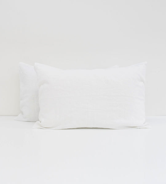 Father Rabbit | Linen Standard Pillowcase Pair | White
