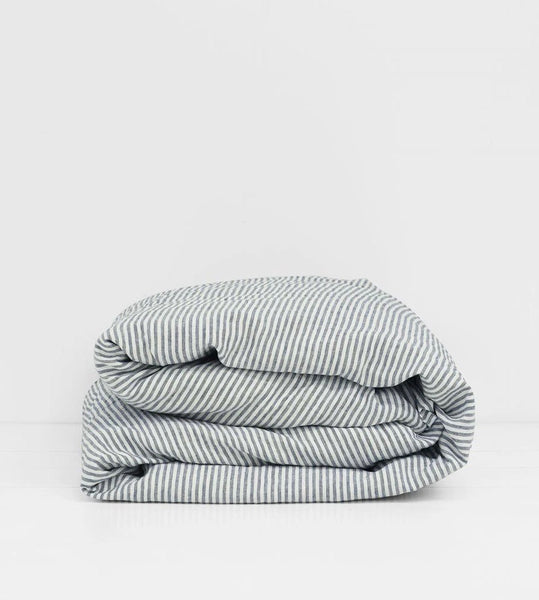 Father Rabbit | Linen Duvet Cover | Navy Stripe