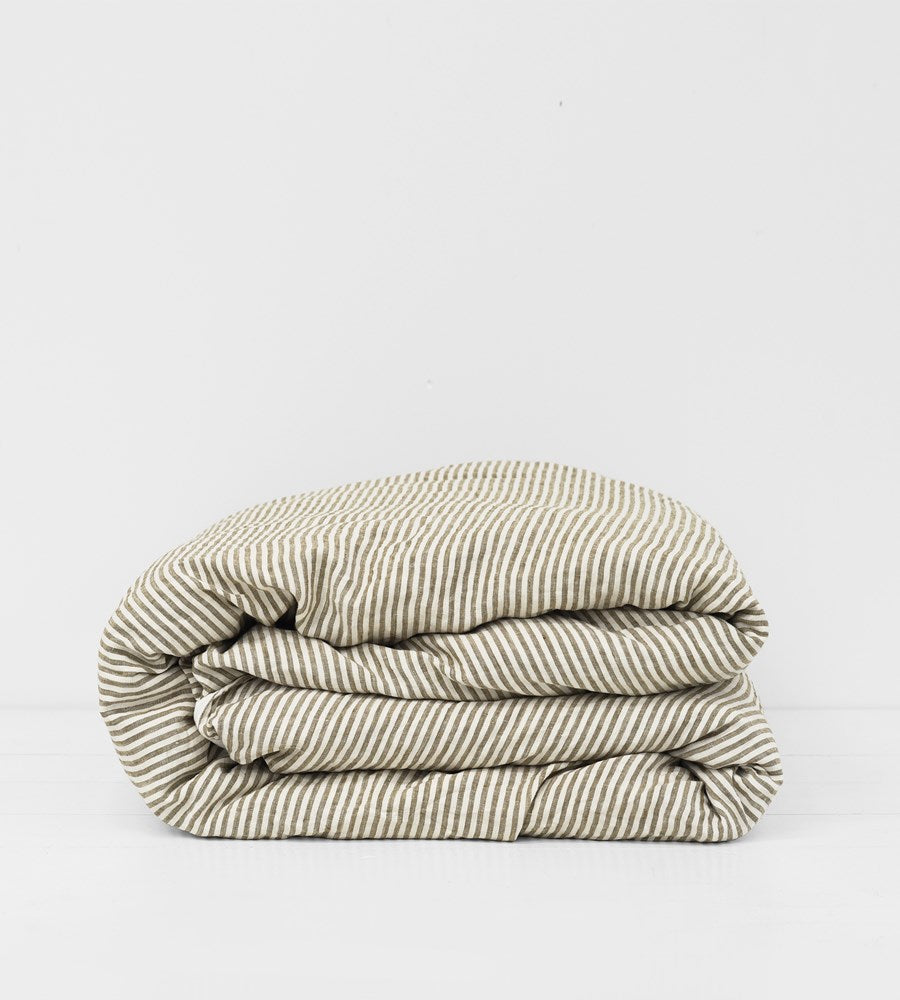 Father Rabbit | Linen Reversible Duvet Cover | Cream & Olive Stripe
