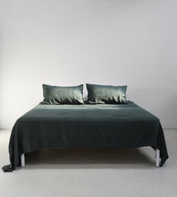 Father Rabbit | Linen Fitted Sheet | Forest Green