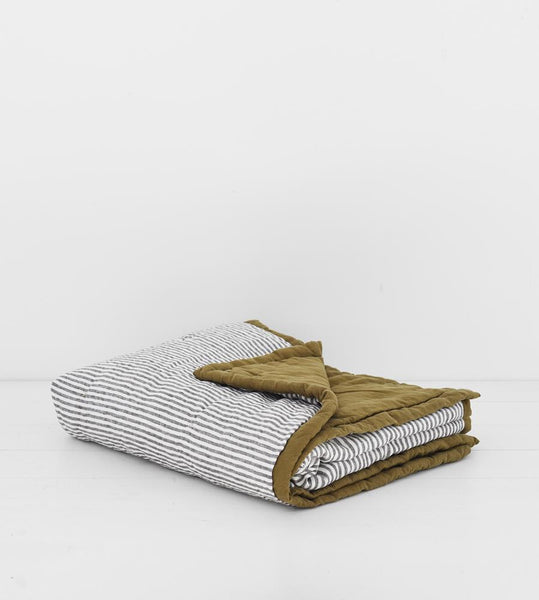 Father Rabbit | Sofa Blanket | Olive & Charcoal Stripe