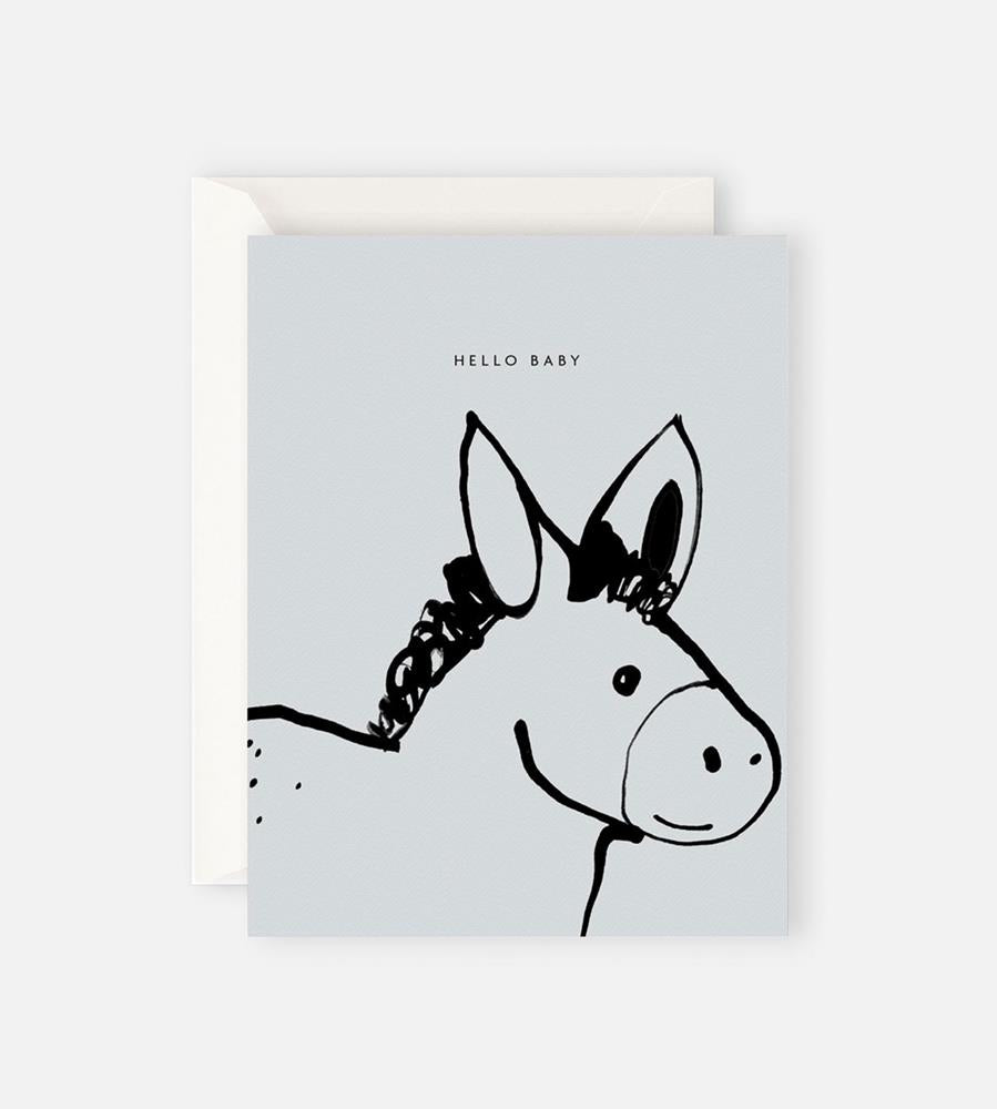 Father Rabbit Stationery | Hello Baby Donkey Card