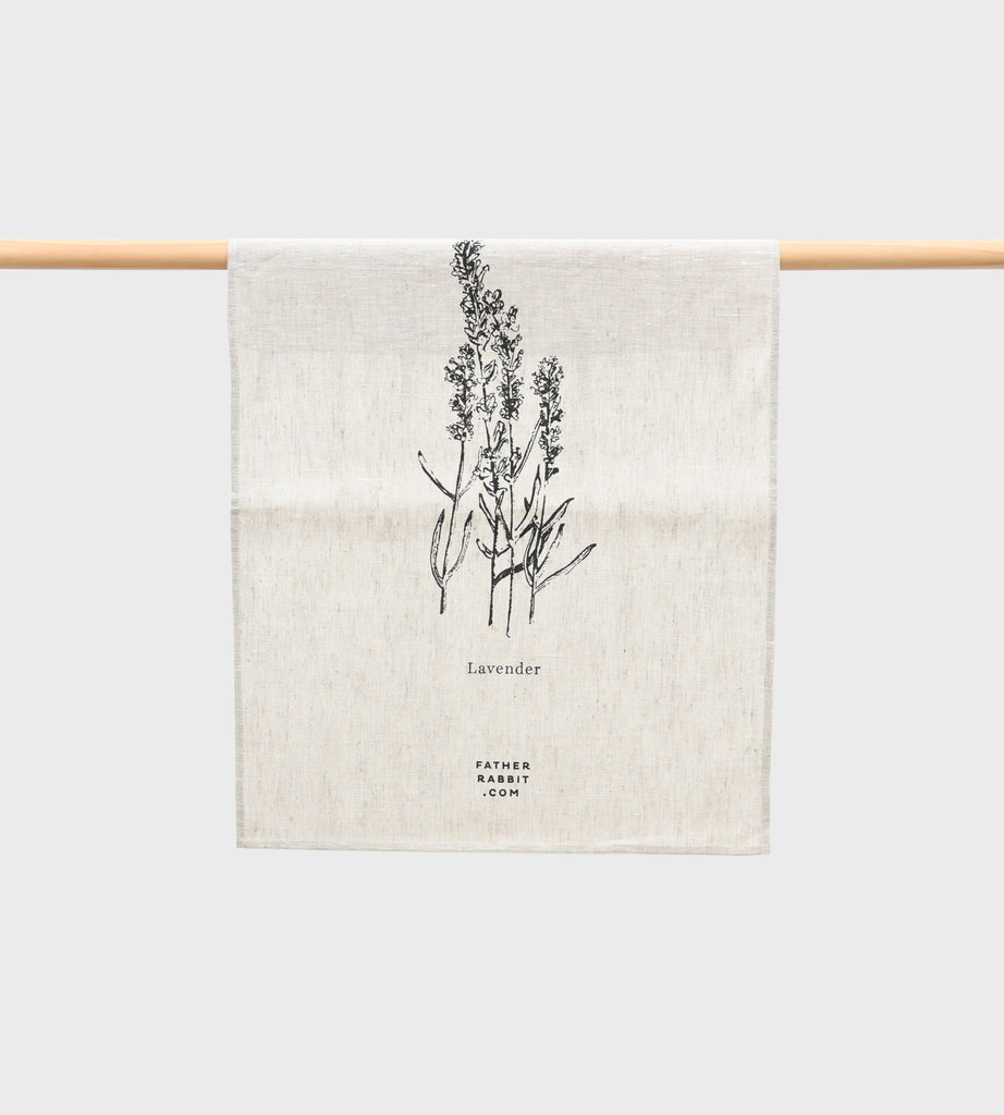 Father Rabbit | Lavender Linen Tea Towel | Natural