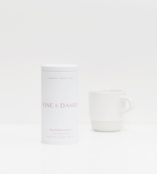 Fine & Dandy | Tea Tin | Fairtrade Organic Green Tea with Rose Petals