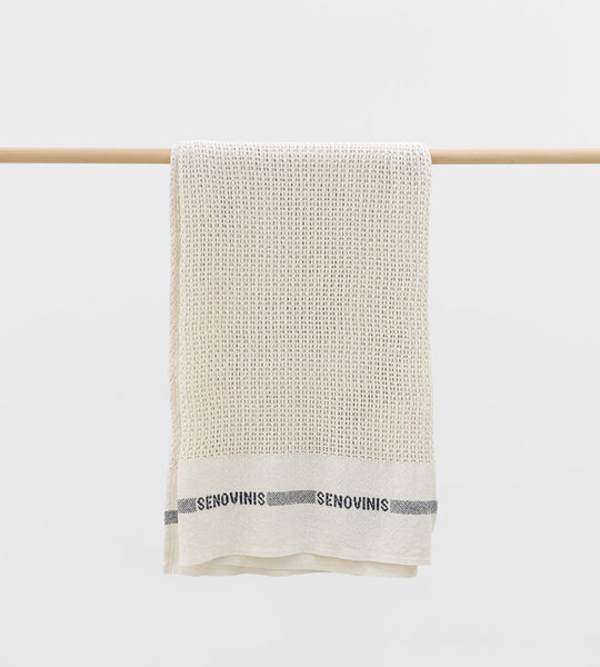 Fog Linen | Cotton Blanket | Blue Stripe