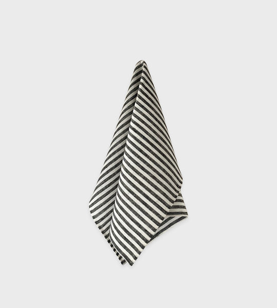 Fog Linen Tea Towel | Classic Black White Stripe