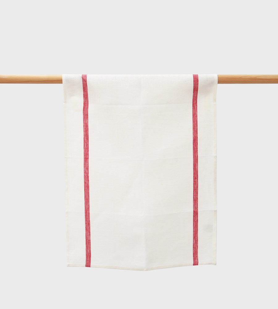 Fog Linen Tea Towel | White / Red