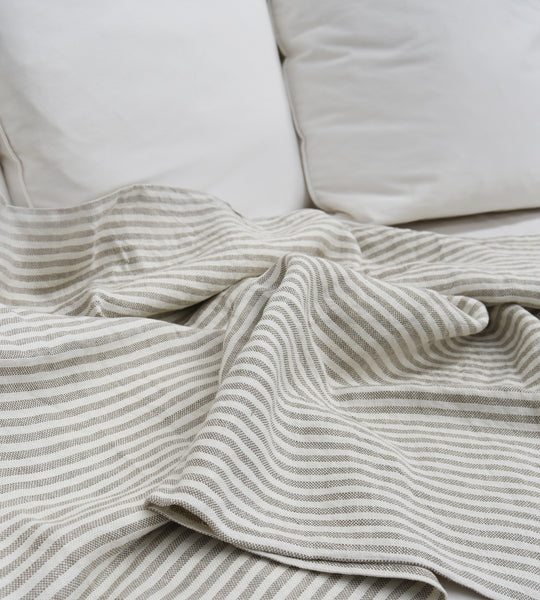Fog Linen | Blanket | White Stripe