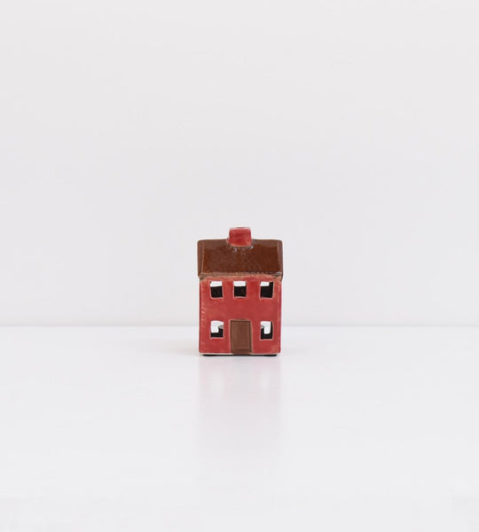 Petite Chalet Tea Light House | Brown Red
