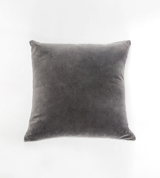 Gaia Velvet Linen Cushion | Pewter