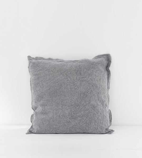 Grey Cushion Canvas with Fringe Detail