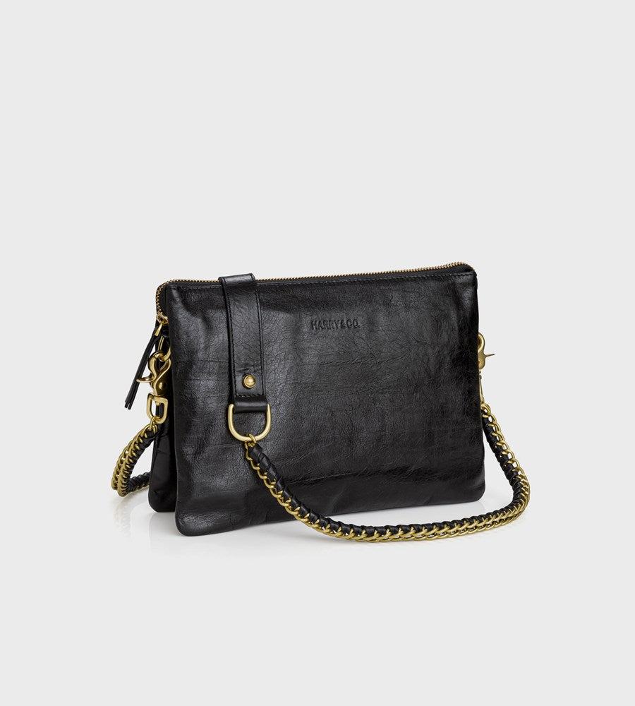 Harry & Co. | Everywhere Bag | Black Crackle Leather