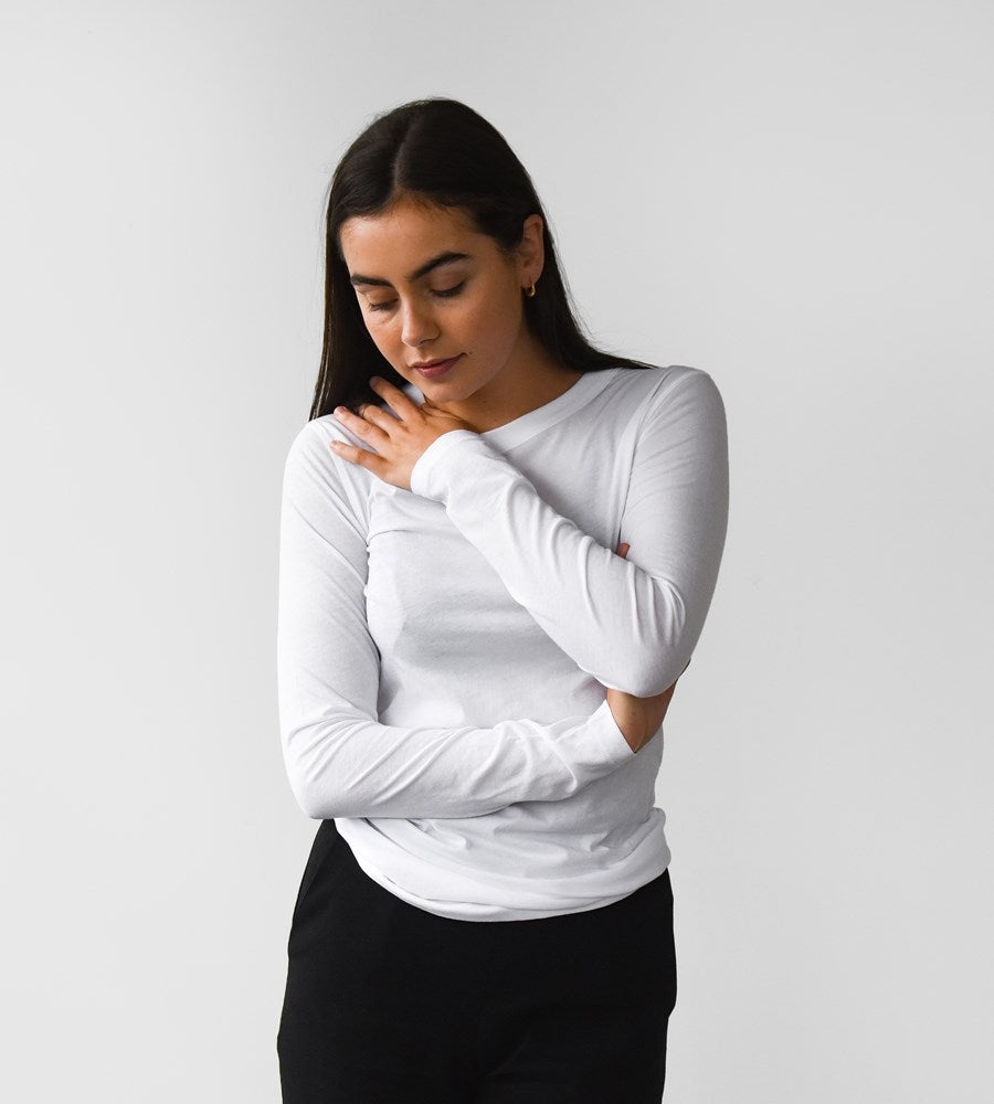 Jac+Jack | Kent Long Sleeve Tee | White