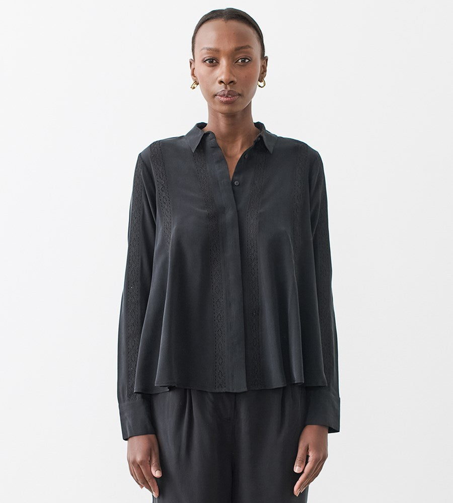 Joslin | Christine Silk Shirt | Sandwash Black