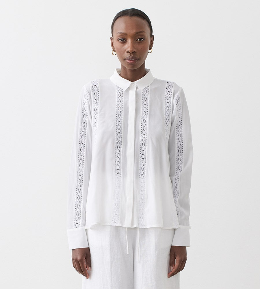 Joslin | Christine Silk Shirt | Sandwash White