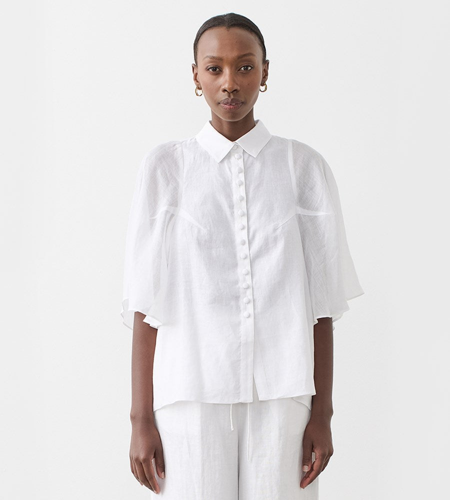 Joslin | Isabella Linen Ramie Shirt | Optical White