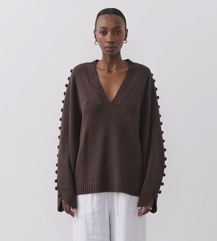 Joslin | Paige Cotton Cashmere Knit | Chocolate Marle