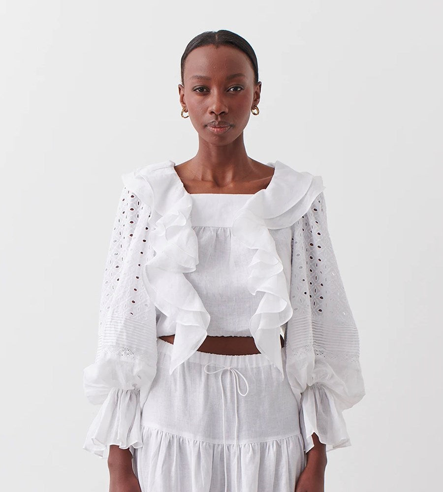 Joslin | Paulina Linen Cotton Lace Top | Optical White