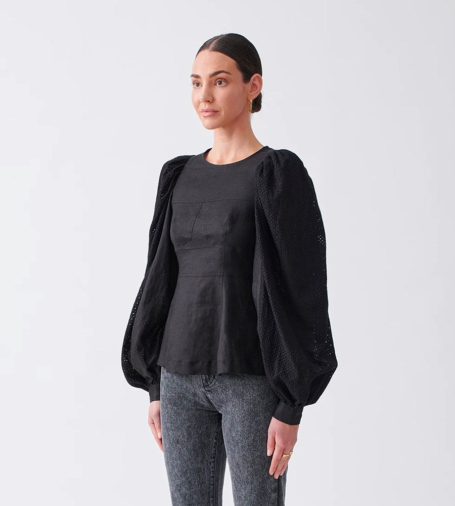 Joslin | Reagan Linen Crochet Top | Black